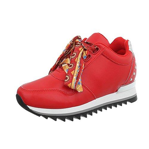 Ital-Design Sneakers Low Damen-Schuhe Keilabsatz/Wedge Schnürsenkel Freizeitschuhe Rot, Gr 37, G-124-