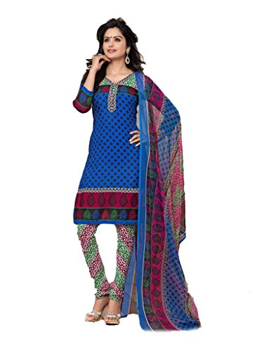 Vineberi Pretty And Stunning Unstitched Printed Crepe Blue Salwar Suit Dress Material  available at amazon for Rs.399