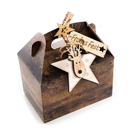 8 Stück Verpackung Weihnachtsgeschenke 18,5 x 12,5 x 12 cm Weihnachten Schachtel Holz-Optik BRAUN Stern gold + Dekoklammer - Geschenke für Kunden Weihnachten natürlich verpacken