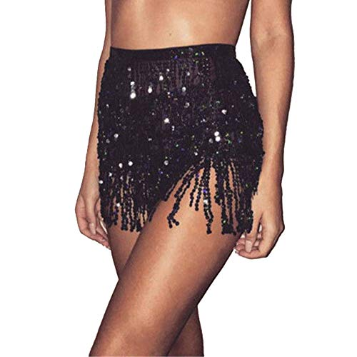 PinkLu Glitzer Rock Mit Fransen Tanzrock Damen kurz Tailliertes Und Paillettenbesatz Tanzrock Britischer Stil Mode FrüHling Und Sommer Neuer HeißEr Minirock -