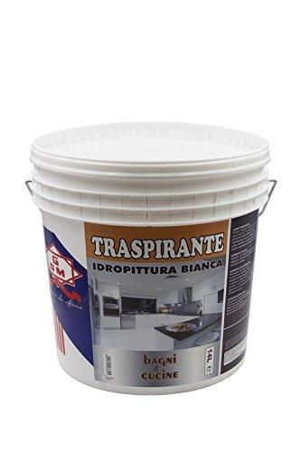 GDM-Traspirante, Idropittura Ideale Per Bagni E Cucine, Colore: Bianco, 14 litri