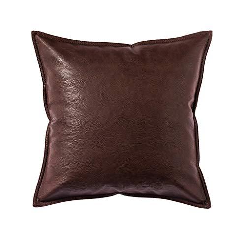 DUHUI Öl Wachs Leder Kissen, Moderne Kunstleder Sofa Büro Kissen, PU Leder Kissen Bett Rückenlehne, Auto Kissen (Farbe : Brown, größe : 45x45cm) -