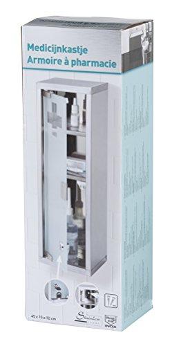Armadietto per medicinali cassetta farmaci soccorso mobile bagno acciaio con 3 ripiani e anta di vetro con serratura A32