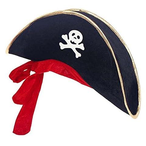 Fairlove Deguisement Chapeau De Pirates Noir Bande Doree Et Bandana Rouge Pour Halloween