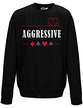 Felpa Girocollo Poker Texas Hold Em Aggressive Player Carte Da Gioco