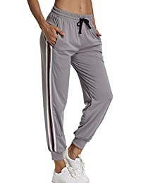 09fdeec3e118 FITTOO Pantalon Sport Femme Pantalon Decontracté Poches Yoga Bande Latérale  Rayure Cordon de Serrage Yoga Loisirs