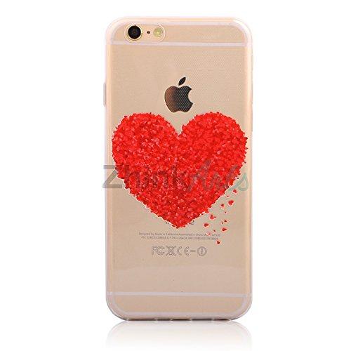 Handy Hülle mit Motiv Case Cover Silikon Schutzhülle TPU von ZhinkArts für Apple iPhone 7 Pusteblume Weiß M14 Herz M13