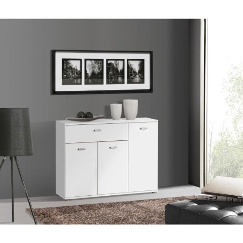 DIXI Buffet bas contemporain blanc laqué - L 90 cm