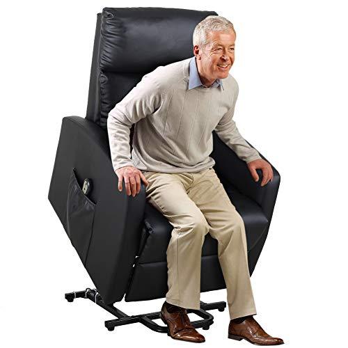 Bakaji poltrona alzapersona elettrica motorizzata reclinabile in similpelle ecopelle con tasca porta telecomando per anziani e persone disabili (nero)
