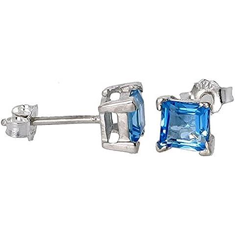 Revoni-Ciondolo motivo Dicembre, con topazio blu naturale, 3/4 di carato, taglio Princess, quadrato, 5 mm, misura-Orecchini a perno in argento Sterling,