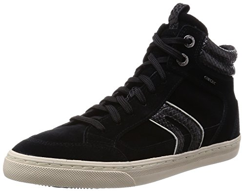 Geox D NEW CLUB A, Sneaker alta donna, Nero (Schwarz (C0017BLACK/GREY)), 40