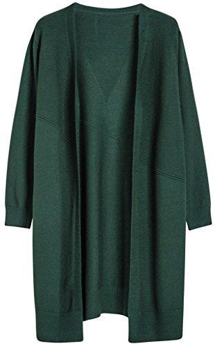Vogueearth Fashion Femme's Autumn Knit Longue Sweater Chandail Tricots Open Cardigan Foncé Vert