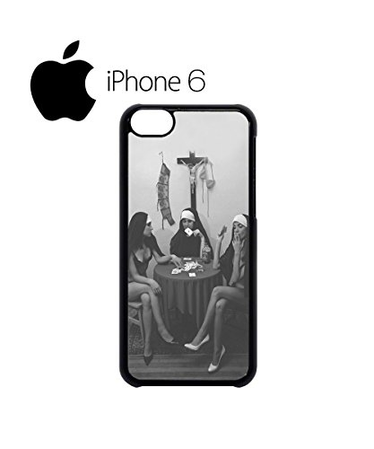 Nuns Naked Playing Card Smoking Swag Mobile Phone Case Back Cover Coque Housse Etui Noir Blanc pour iPhone 6 White Noir