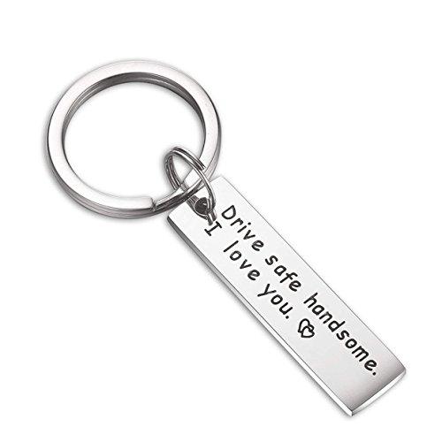 EJY Edelstahl Schlüsselanhänger mit Anhängern, Keychain Auto Schlüsselring Handtasche Anhänger Beutel Kette, Drive Safe Handsome. I Love You (002#) 002 Safe