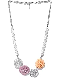 Jewel Touch Fashion Off-White & Silver-Toned Beaded Princess Necklace