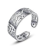 Jane Stone Ladies Toe Ring Flower Ornament 925 Sterling Silver Adjustable Little Finger Ring for Women and Girls