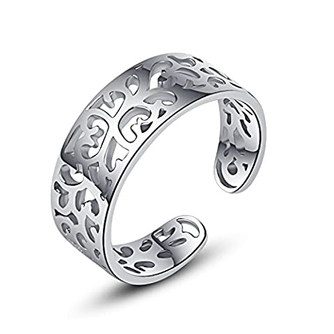 Jane Stone Ladies Toe Ring Flower Ornament 925 Sterling Silver Adjustable Little Finger Ring for Women and Girls