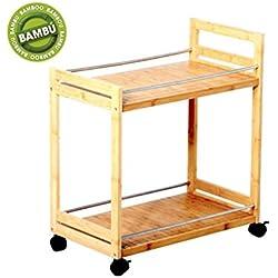 Mesa auxiliar de bambú con ruedas color natural