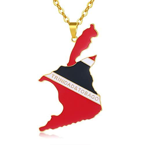 VAWAA Große Anhänger Trinidad Und Tobago Karte/Flagge Halsketten Für Frauen/männer Gold Farbe Trinidad Land Schmuck Geschenk Bijoux