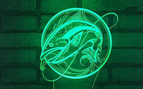 3d nachtlicht für kinder angeln bunte farbwechsel fernbedienung konsole licht optische täuschung usb lade lampe riss basis lampe acryl blatt nachtlicht geschenk licht dekoration lampe