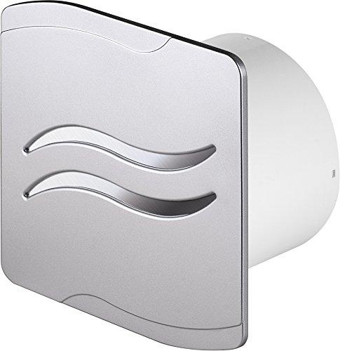 Design Badventilator Ø 100 mm silber / satin mit Timer / Nachlauf und Rückstauklappe WSS100T Lüfter Ventilator Front Wandlüfter Badlüfter Ventilator Einbaulüfter Bad Küche leise 10 cm