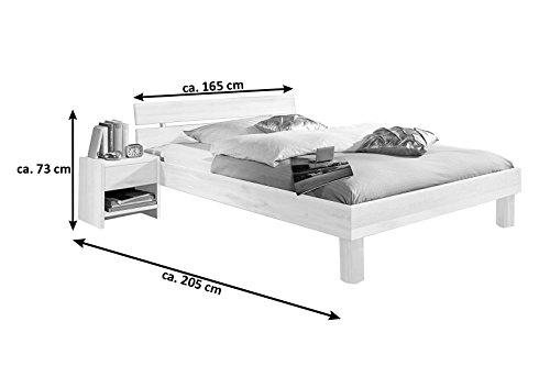 SAM® Massiv-Holzbett Columbia in Buche wenge, Bett mit geteiltem Kopfteil, natürliche Maserung, massive widerstandsfähige Oberfläche in warmem Braunton, 160 x 200 cm - 4