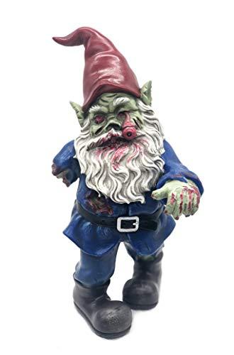 FICITI Zombie-Zwerg, böses Zwerg, Gruseliger Zwerg, Gehender Tot, Gartenzwerg, Halloween-Dekoration - 25,4 cm