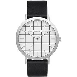 Christian Paul gr-05Herren Edelstahl schwarz Leder Band Weiß Zifferblatt Uhr