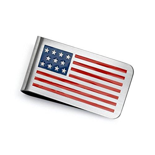 Bling Jewelry Usa Amerikanische Flagge Rot Weiß Blaue Sterne Streifen Geld Clip Für Herren Schlicht Kreditkarte Aus Rostfreiem Stahl