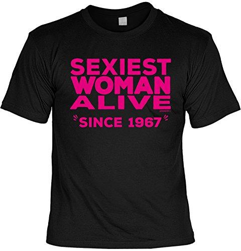 T-Shirt zum 50. Geburtstag Sexiest Woman Alive Since 1967 Geschenk zum 50 Geburtstag 50 Jahre Geburtstagsgeschenk 50-jähriger Schwarz