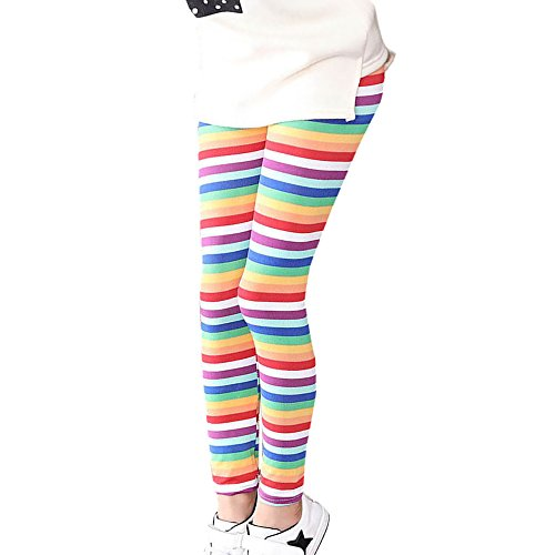 FNKDOR Baby Mädchen Leggings, Kinder Bunt Blume Hosen Silm Fit Leggins (Länge: 75cm; Höhe: 131-140cm, Rosa)
