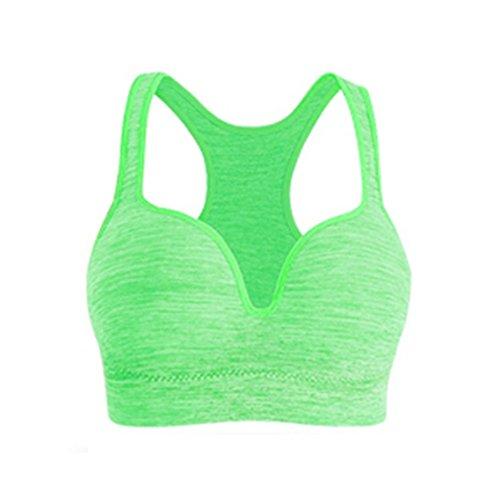 Patgoal Donne Sport Yoga reggiseno push up a spalle scoperte allenamento canotte Verde