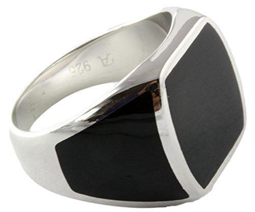 Massiver Herrenring Onyx 925 Sterling Silber (62 (19.7))