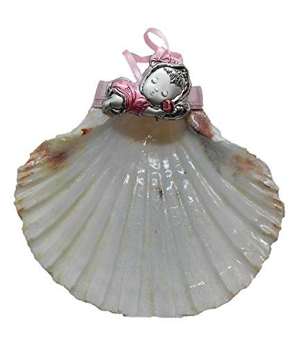 Concha de Bautismo de Vieira natural y motivo de Plata bilaminada y esmalte, Incluye estuche con adornos bautismales. Autopersonalizable.