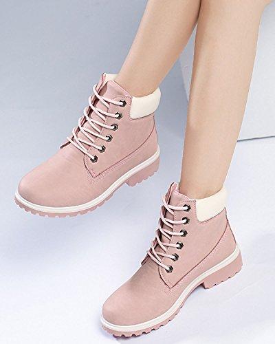 Minetom Damen Schnür Stiefeletten Biker Boots Stiefel Warm Gefütterte Schuhe Robuste Worker Stiefel Pink
