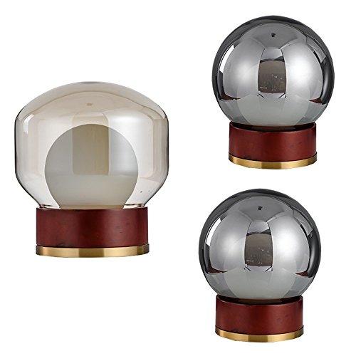 Cwill Moderne einfache Tischlampen Holz und Glas Bubble Shade Schreibtisch Licht Wohnzimmer Schlafzimmer Post moderne Kunst Home Store Leselampen, B-Stil, Cognacglas