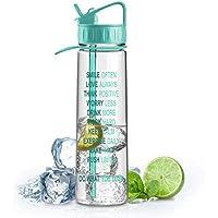 Artoid Mode 900ml Wasserflasche mit motivierender Füllmengen- und Zeitmarkierung, BPA frei Tritan, Trinkflasche Einhandbedienung, auslaufsichere Sportflasche mit Trinkhalm, Fahrrad Camping Flasche