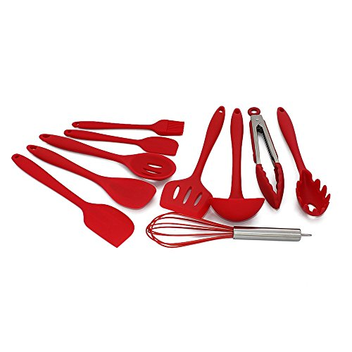 Set of 10 Silicone Non-toxic Non-stick Kitchenware Kitchen Utensils Series Home Cooking Tools Include Tong, (Facile Loop Turner)