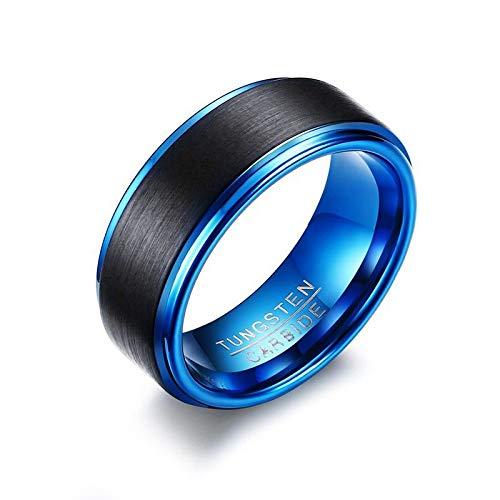 CCWANRZ Engagement/Hochzeit ring8MM breit schwarz/blau Hartmetall Eheringe für Männer Trendige Matte fertig Ringe Schmuck USA Größe, 11 - Schwarze Abgerundete Metall-rahmen