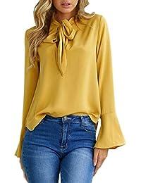 825efc9314 Yasminey Bluse Damen Trompetenärmel V-Ausschnitt Mit Bowknot Oberteile  Frühling Herbst Jungen Fashion Elegante Loose