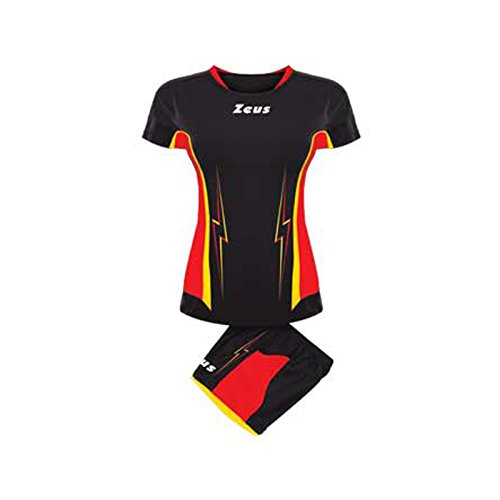 Zeus Damen Volleyball Trikot Hose Shirt Shorts Indoor Handball Training Ausbildung KIT VOLLEY DONNA TUONO (S, SCHWARZ-ROT-GELB)