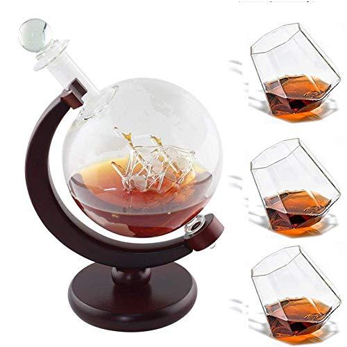 Mit 3 Whiskygläsern Zangen Bar Trichter Stopfen Spirituosen Spender Scotch Bourbon Vodka Rum Wein Tequila Brandy ()
