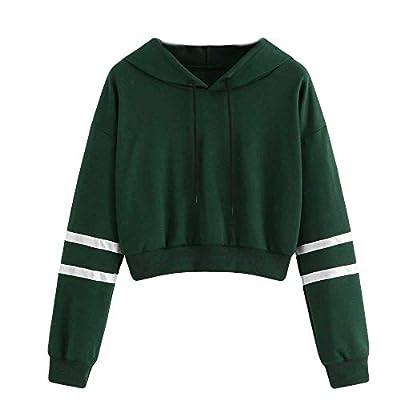 Sufeng Women Varsity-Striped Drawstring Crop Hoodie Sweatshirt Jumper Crop Pullover Top
