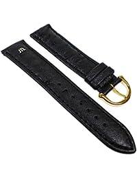 Maurice Lacroix Ersatzband Uhrenarmband Straußenleder Band schwarz 22624G, Stegbreite:19mm