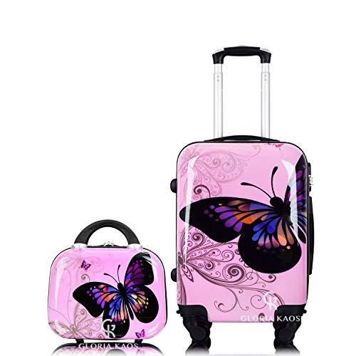 Gloria Kaos Bis Set Valigia Trolley 50cm + Vanity Case - Bagaglio a Mano Ultra Leggero In Policarbonato Flessibile