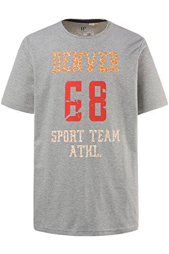 JP 1880 Herren große Größen | T-Shirt | sportlicher Druck | Used-Look | Rundhals | 1/2-Arm | bis Größe 7XL | grau-melange 3XL 708331 12-3XL