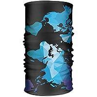 jiantsk Unisex Blue Geometry World Map Multifunction Changed Headwear Headscarf Bandanas