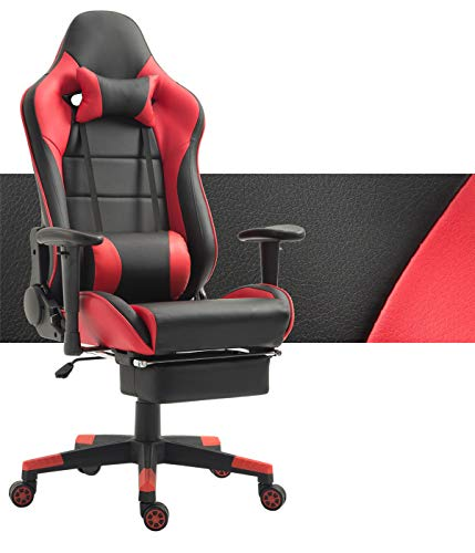 Tiigo Racing Silla Gaming Silla Ergonómica Silla de PC Gamer con reposapiés Ajuste reposacabezas (Negro/Rojo,1)