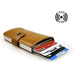 sciuU Cartera Tarjeta de Crédito/Portatarjetas de Visita, Bloqueo RFID, Cartera de Aleación de Aluminio Multiuso Bolsillos, Cuero PU Exterior, Puede Contener hasta 9 Tarjetas de Crédito, Beige