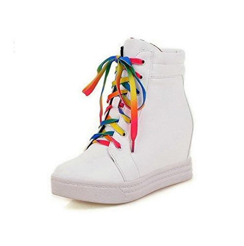 AllhqFashion Damen Rein Wedges Rund Zehe Schnüren Stiefel Weiß